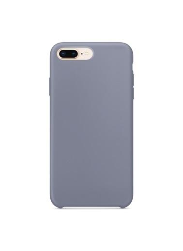 Microsonic Apple iPhone 7 Plus Kılıf Liquid Lansman Silikon Lavanta Grisi Gri